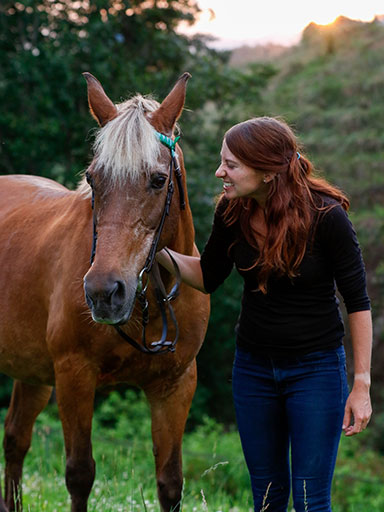 human mimicking horse's mare face