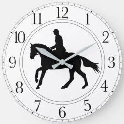 clock face with rider silouhette