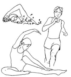 line drawing of cross-training sports activities