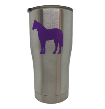 tumbler with purple glitter horse decal from The Mane Monogram