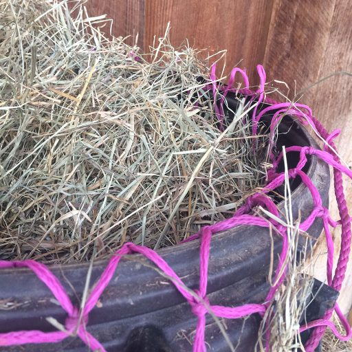 hay net in tub for filling