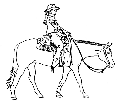 line drawing of western rider